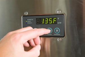 digital display on the front of a water heater