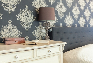 A wallpapered room.