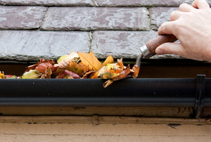 hand scooping leaves out of roof gutter with tool