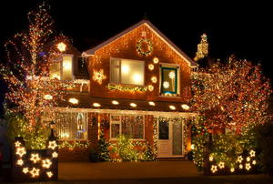 A house with an impressive array of Christmas lights.