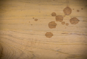 Wood that has water marks.