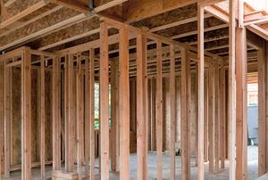 wooden frame for building under construction