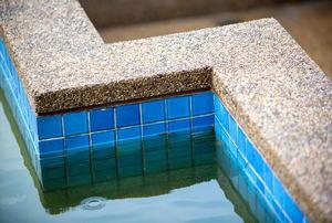 pebble rock edge of pool
