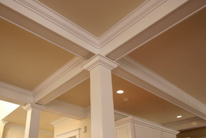 Crown molding on a ceiling.
