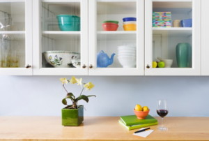 Kitchen Counter & Cupboards with glass doors