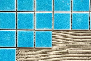 blue tile on concrete
