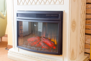 A glass fireplace door.