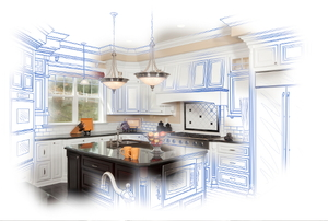 A dream kitchen with architectural plans surrounding it.