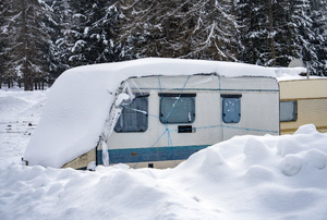 An RV in the snow.