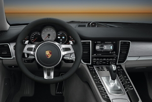 Steering wheel and interior of a Porsche