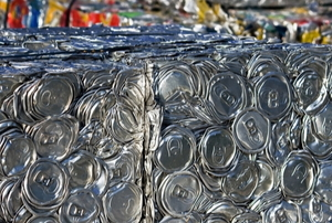 metal cans cubed for recycling
