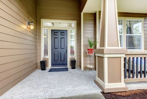 front porch with blue front door