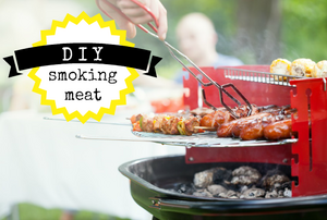 """A bbq with hot dogs and the phrase, """"DIY: smoking meat."""""""