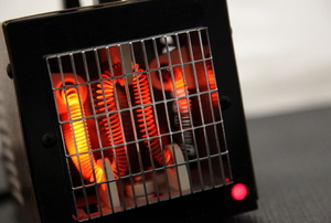 An active heating coil in a small space heater.