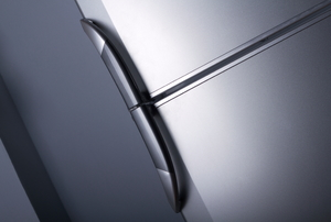 A close-up of a refrigerator door.