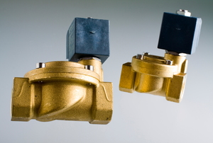 Two solenoid valves are on display.