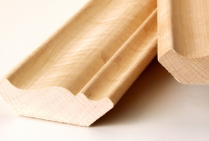 loose strips of wooden crown molding