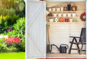 cute garden shed with flower pots and tools in sunny garden