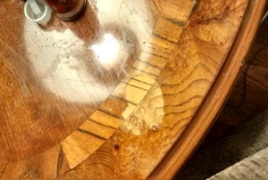 wood table with water stains