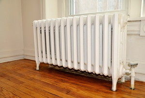 White radiator in a room