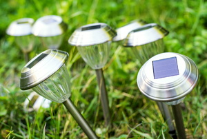 Solar lights in a yard.