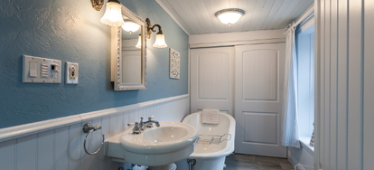 Wainscoting Is An Attractive Decorative Alternative To Single Color Or Wallpapered Walls In The Bathroom A Design Feature That Covers