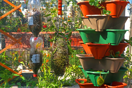 Hanging Garden That Uses Recyclables