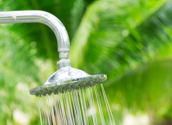 An outdoor shower.