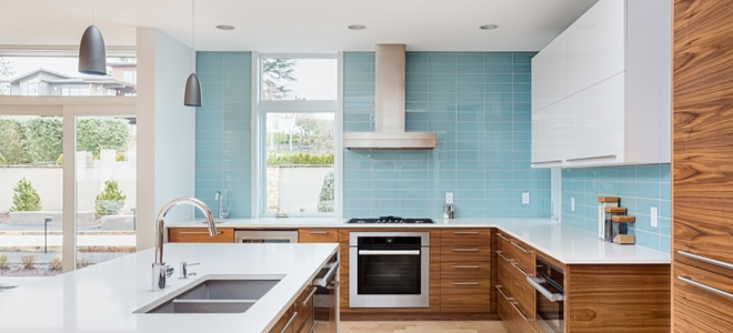 kitchen with extended blue backsplash