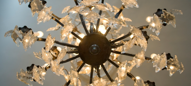 A chandelier hanging up.