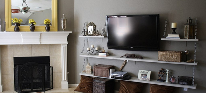 TV with built around wall shelves