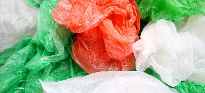 wadded up plastic bags in assorted colors