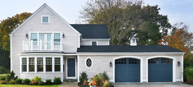 house with blue garage door