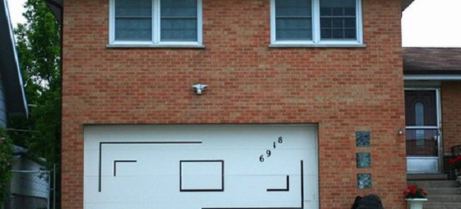 Garage door with house numbers