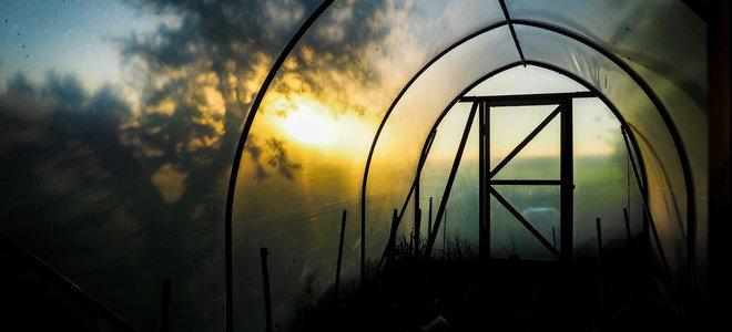pop up greenhouse at sunrise