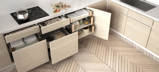 kitchen cabinets with pull-out drawers and shelves