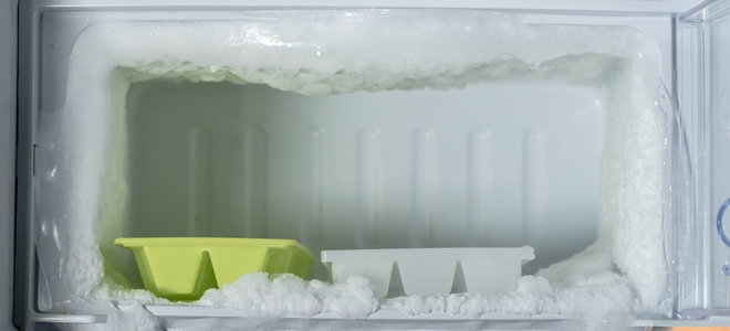 freezer with built-up frost
