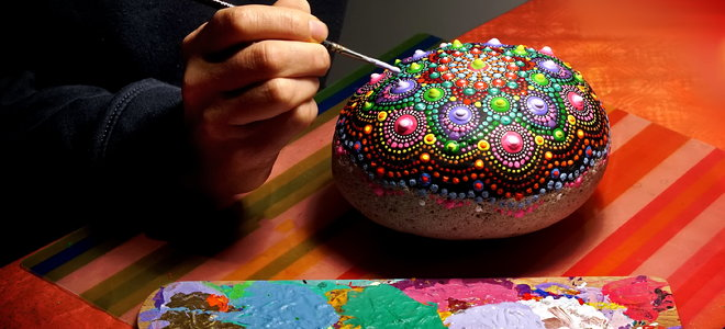 mandala painted rock beautiful craft project