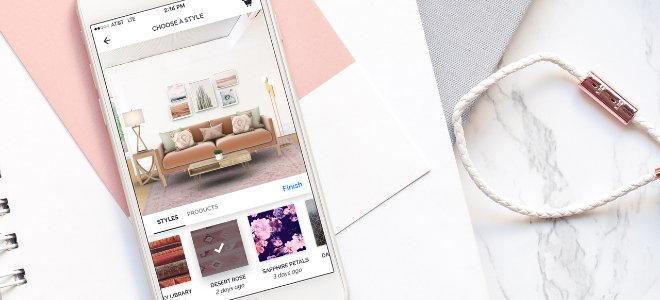 interior design app on smartphone