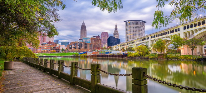 cleveland ohio, boardwalk by the river and bridge