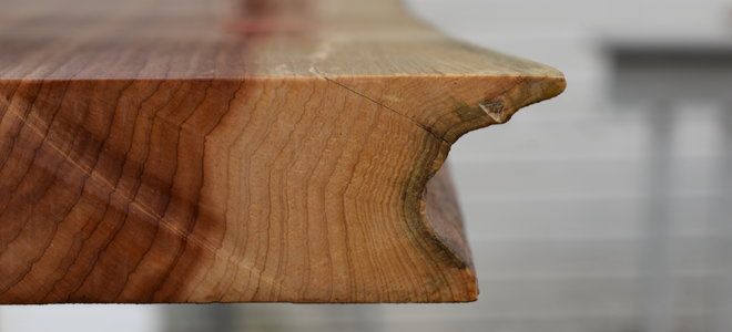 close up of vibrant edge wooden table edge
