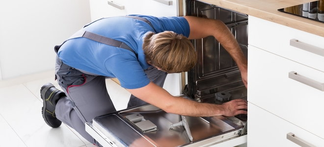 you lean in an open empty dishwasher