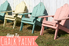 """A row of pastel adirondack chairs with the words """"How To Chalk Paint."""""""