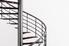 A metal spiral staircase.