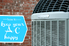"An air conditioner unit against a brick background with the words ""how to keep your AC unit happy."""