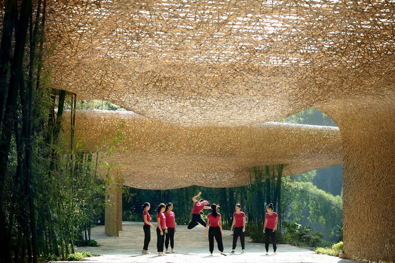 Nest-Like Woven Pavilion Built Around Living Bamboo