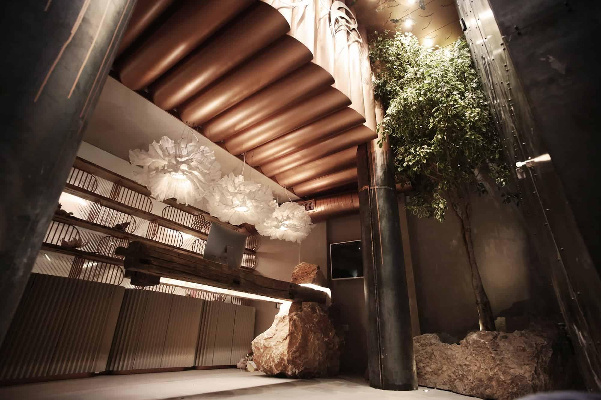 The sleek sculptural reception desk in Kosovo's new Angel Salon