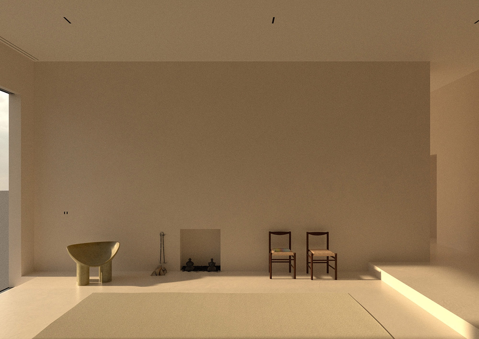 Computer-generated image of Maison's bare-bones living area.