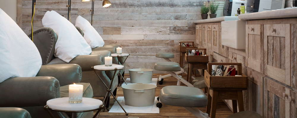 Nail treatment area at Soho House Chicago's public spa, Cowshed