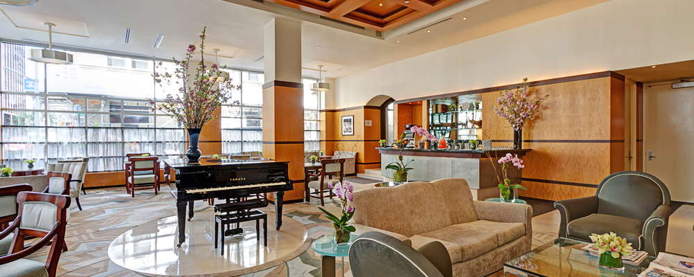 The Grande Lobby of Hotel Giraffe by Library Hotel Collection.